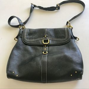 Kenneth Cole Black Leather Cross Body Bag Large